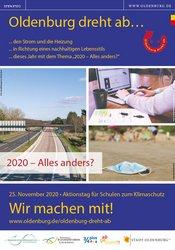 Plakat mit leerer Autobahn, Maske am Strand und Homeoffice; Quelle: Stadt Oldenburg