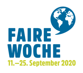 Logo Faire Woche mit Datum 11. bis 25. September 2020. Quelle: Forum Fairer Handel e. V.