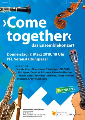 Konzertplakat Come together. Gestaltung: RamschDesign